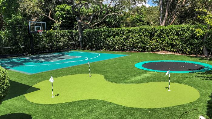 Artificial turf lawn with Envirofill