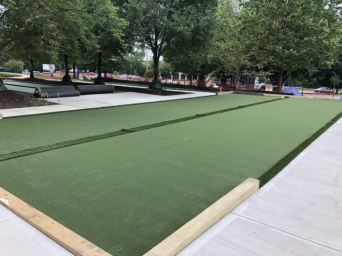 Bocce Ball court with artificial turf