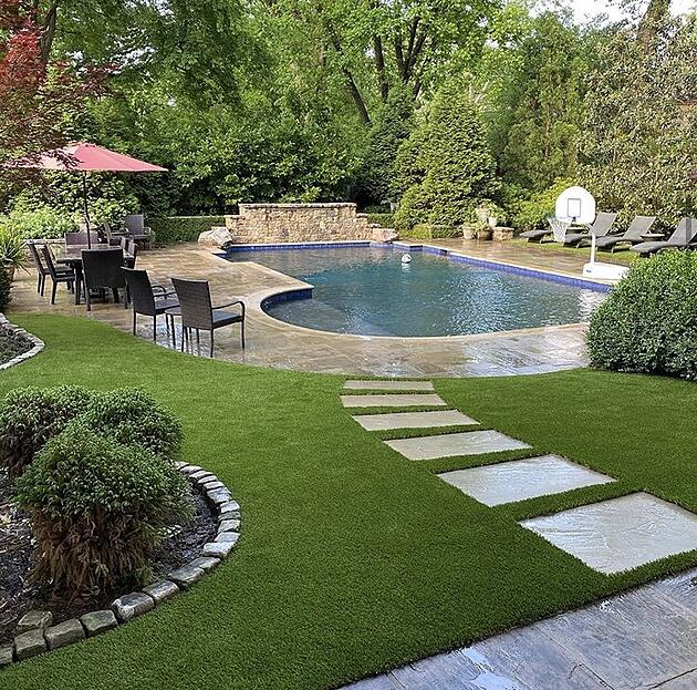 Envirofill Artificial Turf Lawn with Swimming Pool