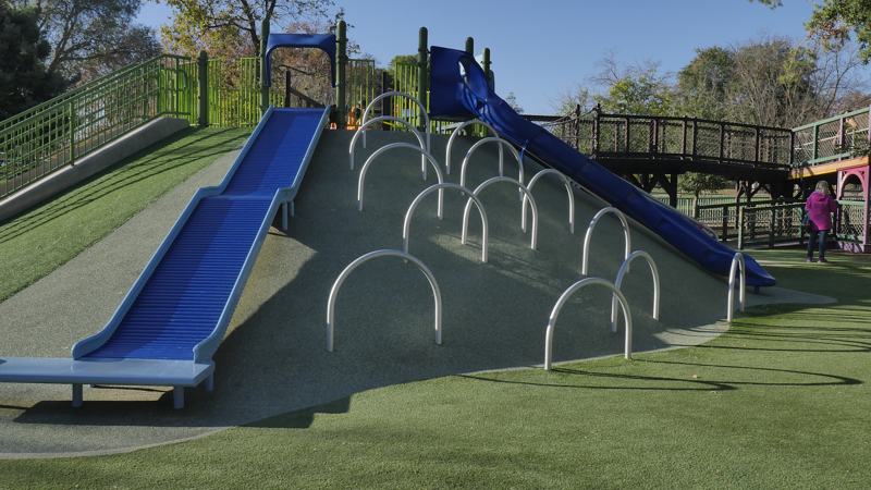 Synthetic turf park playground with Envirofill Infill