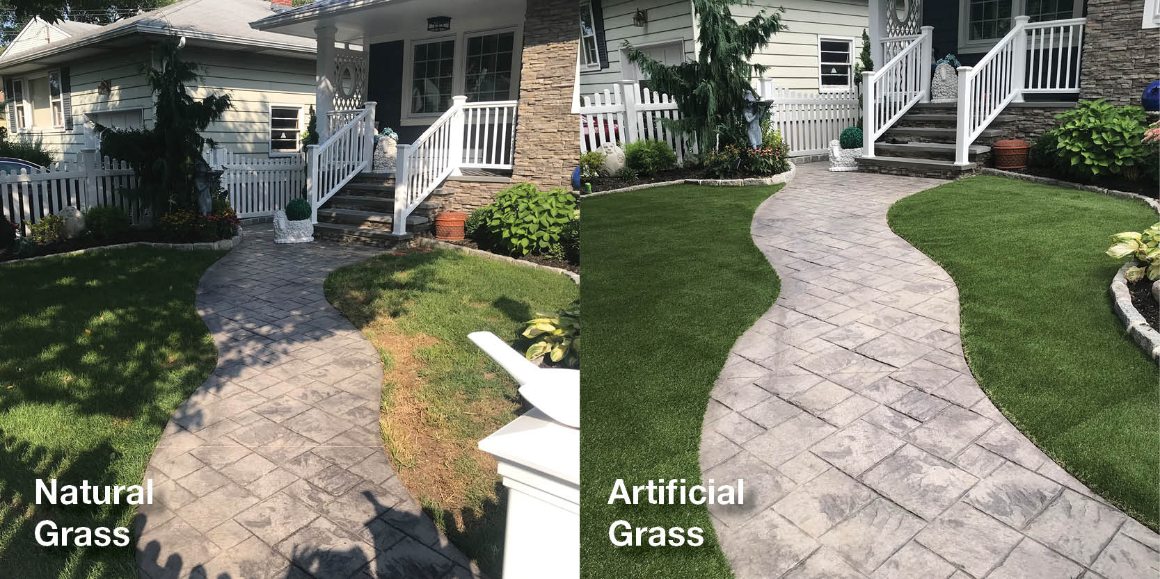 Top 3 benefits of having artificial turf in the winter - Before and After photo