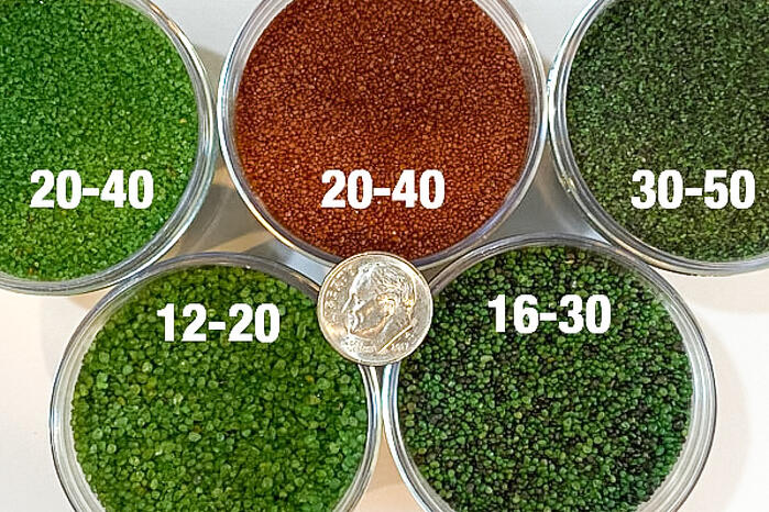 Envirofill Synthetic Turf Infill Colors and sizes compared to a dime