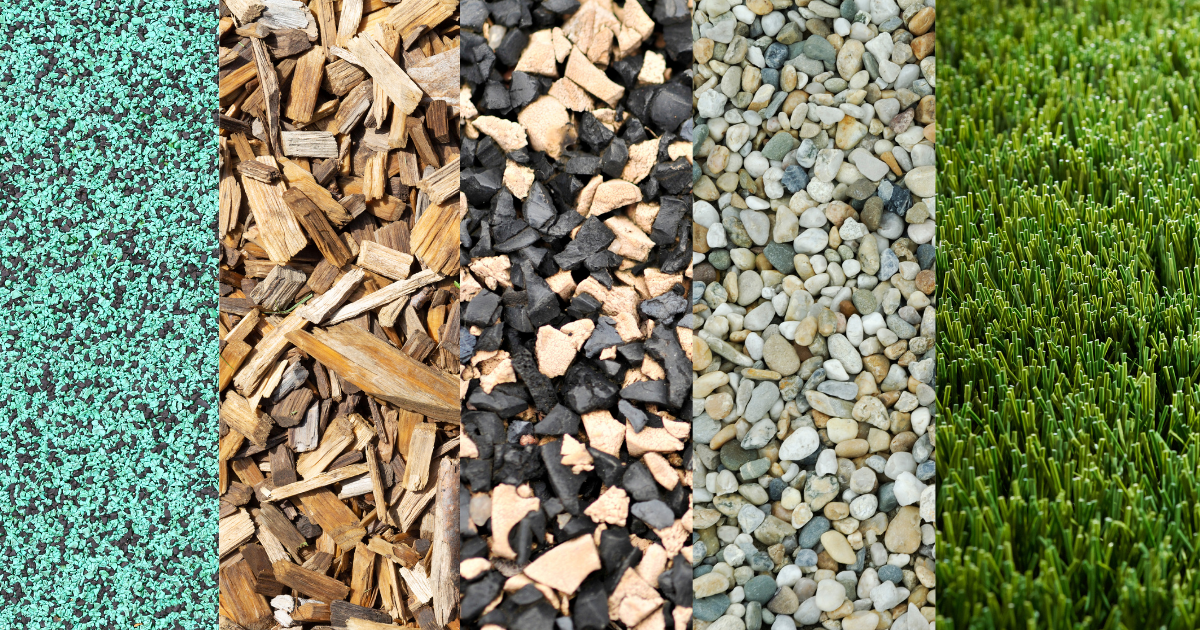Close up of various playground surface materials